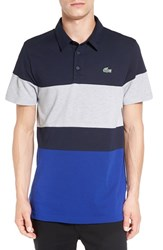 Lacoste Men's Colorblock Ultra Dry Golf Polo Navy Blue France Silver Chine