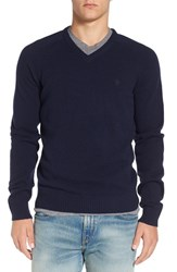 Original Penguin Men's V Neck Lambswool Sweater Dark Sapphire