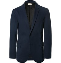 Club Monaco Blue Slim Fit Stretch Cotton Pique Blazer Navy
