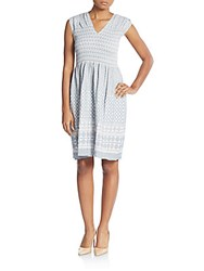 Max Studio Jacquard Smocked Dress Blue White