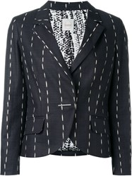 Eggs Pinstriped Single Breasted 'Ernesto' Blazer Black