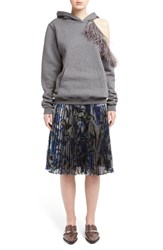 Christopher Kane Women's Ostrich Feather Trim Cold Shoulder Hoodie