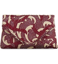 Dries Van Noten Printed Leather Pouch Burgundy White