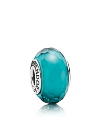 Pandora Design Pandora Charm Murano Glass Teal Fascinating Moments Collection Silver Teal