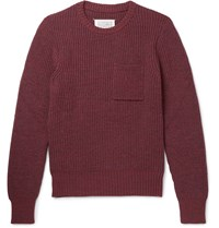 Maison Martin Margiela Ribbed Knit Sweater Burgundy