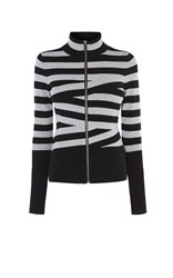 Karen Millen Crosshatch Cardigan Black Multi