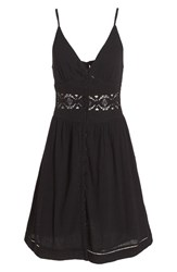 Women's Topshop Crochet Inset Sundress Black