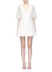 Nicholas Floral Wreath Lace Sleeve Flare Dress White