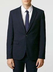 Topman Navy Textured Stretch Skinny Fit Suit Jacket Blue