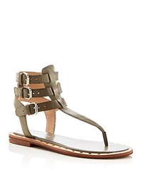 French Connection Imanna Triple Buckle T Strap Sandals Olive
