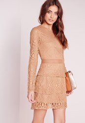 Missguided Mesh Insert Lace Skater Dress Camel Brown