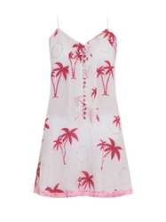 Juliet Dunn Embellished Palm Print Dress