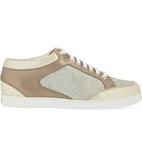 Jimmy Choo Miami Leather And Fine Glitter Trainers Champagne