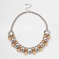 River Island Womens Silver Tone Ball Bar Necklace