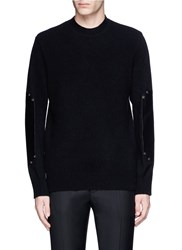 Givenchy Leather Elbow Patch Wool Sweater Black