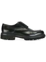 Salvatore Ferragamo Stitch Detail Derby Shoes Black