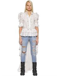 Faith Connexion Ruffled Lace And Washed Silk Shirt W Train