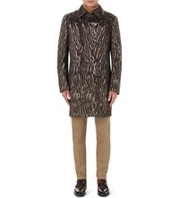 Etro Leopard Print Wool Blend Coat Marrone