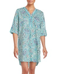 Karen Neuburger Cotton Sleepshirt Blue Paisley