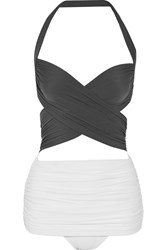 Norma Kamali Xo Bill Mio Ruched Two Tone Swimsuit Gray
