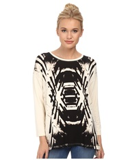 Kensie Reflected Deco Sweatshirt Ks3k3493 Vanilla Combo Women's Sweatshirt Beige
