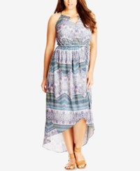 City Chic Plus Size Printed High Low Maxi Dress Lagoon