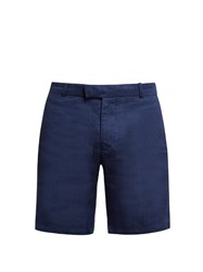 Frescobol Carioca Tailored Linen And Cotton Blend Shorts Navy