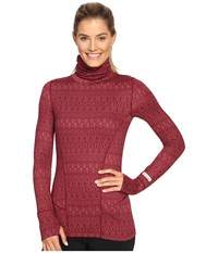 Terramar Cloudnine Performance Long Sleeve Turtle Neck W8238 Merlot Scroll Women's Long Sleeve Pullover Red