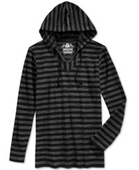 American Rag Men's Hermosa Baja French Terry Stitch Stripe Long Sleeve Hoodie T Shirt Only At Macy's Deep Black