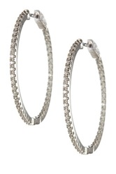 18K White Gold Plated Sterling Silver Cz Accented In And Out Hoop Earrings Metallic