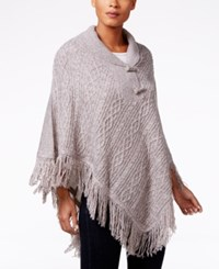Karen Scott Cable Knit Fringe Poncho Only At Macy's Gull Marl