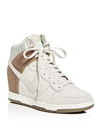 Nike Dunk Sky Hi Essential High Top Wedge Sneakers Light Bone Taupe