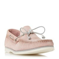 Bertie Bubble Textured Suede Boat Shoes Pink