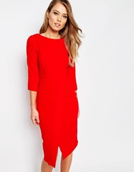 Closet 3 4 Midi Dress With Wrap Front Red