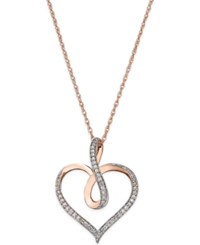 Macy's Diamond Infinity Heart Pendant Necklace 1 5 Ct. T.W. In 14K Rose Gold Plated Sterling Silver