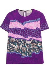 Peter Pilotto Printed Stretch Cady Top Violet