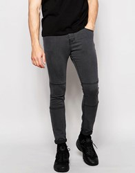Pull And Bear Super Skinny Jeans In Gray With Knee Detail Gray