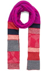 Junya Watanabe Checkered Link Scarf In Purple Pink Red Stripes