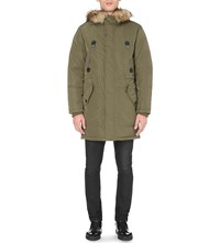 Diesel W Wasiliki Quilted Shell Parka Coat Olive Green