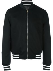 Paul Smith London Striped Detailing Bomber Jacket Black
