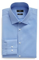 Boss Men's Big And Tall Slim Fit Easy Iron Microcheck Dress Shirt Blue
