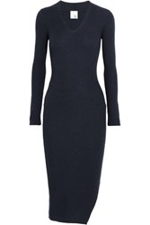 Iris And Ink Alma Asymmetric Ribbed Wool Midi Dress Navy