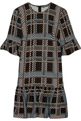 Markus Lupfer Plaid Stretch Crepe Dress Black
