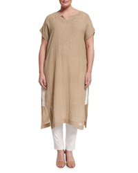 Marina Rinaldi Drappo Short Sleeve Long Linen Dress W Side Slits Women's
