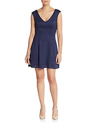 Saks Fifth Avenue Red Laser Cut Fit And Flare Dress