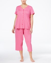 Charter Club Plus Size Loop Trimmed Top And Cropped Pants Pajama Set Only At Macy's Pink Dot