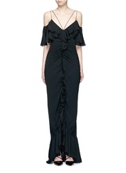 Emilio Pucci Ruffle Silk Georgette Cold Shoulder Gown Black