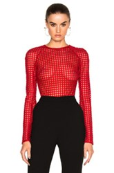 David Koma Macrame Bodysuit In Red