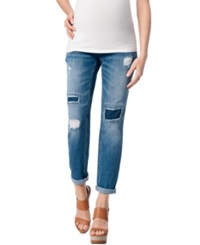 Motherhood Maternity Distressed Boyfriend Jeans True Blue Wash