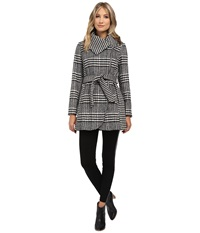 Jessica Simpson Glen Plaid Houndstooth Coat With Belt Black White Women's Coat